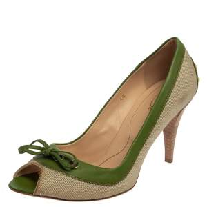 Tod's Beige/Green Canvas And Leather Peep Toe Slip On Pumps Size 40