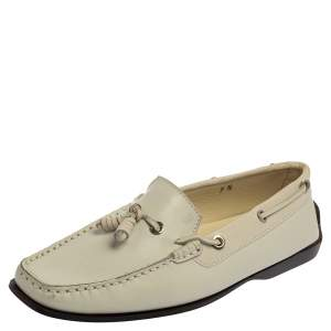 Tod's Off White Leather  Slip On  Loafers Size 40.5