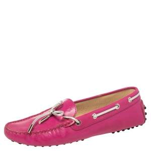 Tod's Pink/Silver Leather Gommini Loafers Size 40