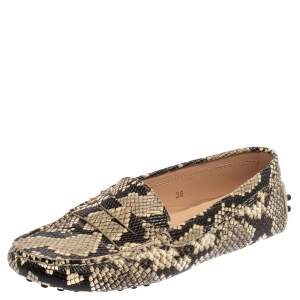Tod's Grey/Black Python Embossed Leather Slip On Loafers Size 36