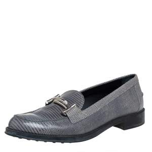 Tod's Grey Lizard Leather Slip On Loafers Size 38