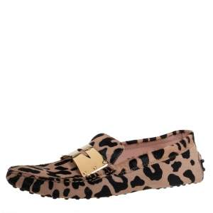 Tod's Beige/Black Leopard Print Calf Hair Penny Loafers Size 40