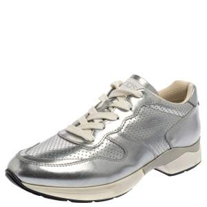 Tod's Silver Perforated Leather Sportivo Active Sneakers Size 38.5