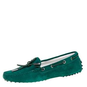 Tod's Green Suede Bow Driving Loafers Size 39