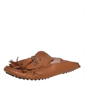 Tod's Tan Leather Fringe Flat Sandals Size 38.5