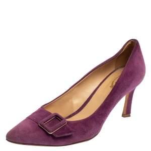 Tod's Purple Suede Buckle Detail Pumps Size 39.5