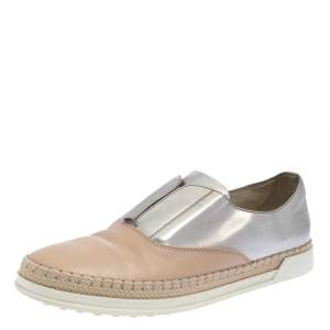 Tod's Beige/Silver Leather Francesina Slip On Espadrille Sneakers Size 38.5