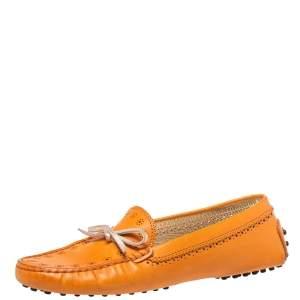 حذاء لوفرز تودز سير بيني جلد برتقالي مقاس 38.5