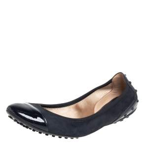 حذاء فلات باليه تودز غطاء مقدمة سويدى وجلد لامع أزرق مقاس 37.5