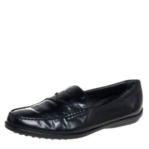 Tod's Black Leather Penny Slip On Loafers Size 38.5