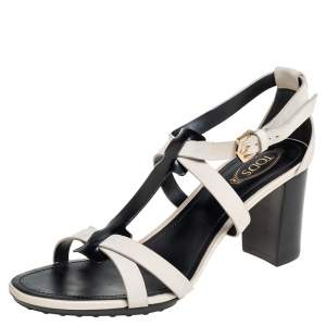 Tod's White/Black Patent And Leather T-Strap Sandals Size 36.5
