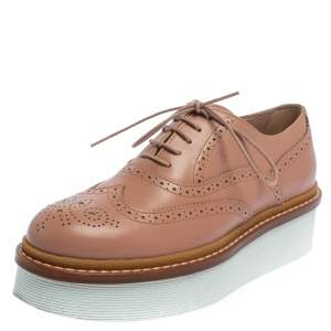 Tod's Pink Leather Lace Up Oxfords Size 37.5
