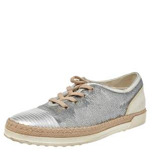 Tod's Metallic Silver Leather And Sequin Low Top Sneakers Size 37