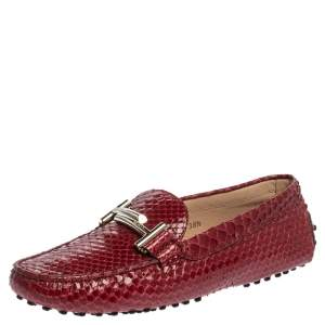 Tod's Red Python Double T Slip On Loafers Size 38.5