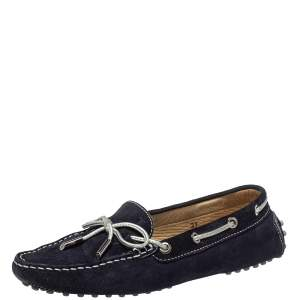 Tod's Navy Blue Suede Bow Slip On Loafers Size 37