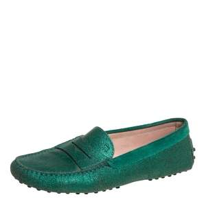 Tod's Green Glitter Penny Slip On Loafers Size 39.5
