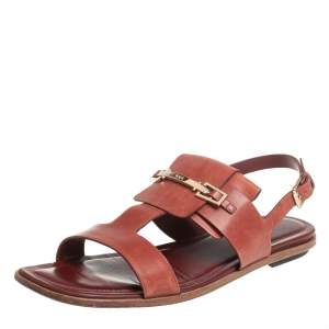 Tod's Brown Leather T-Strap Buckle Detail Flat Sandals Size 38.5