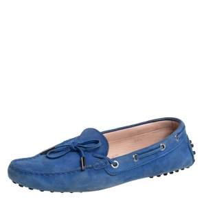 Tod's Blue Nubuck  Gommino Slip On Loafers Size 38.5