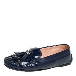 Tod's Blue Patent Leather Slip On Loafers Size 38.5