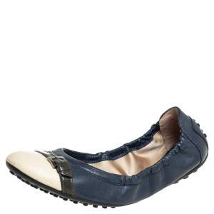 Tod's Multicolor Patent Leather And Leather Scrunch Ballet Flats Size 38.5