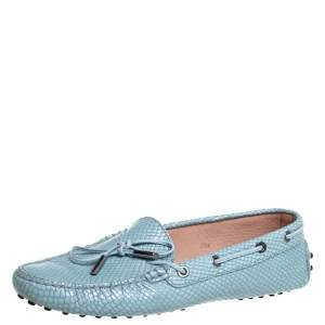 Tod's Blue Python Embossed Leather Slip On Loafers Size 39.5