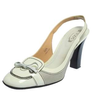 Tod's Cream/Grey Patent Leather And Fabric Bow Slingback Sandals Size 38.5