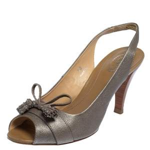Tod's Grey Leather Tassel Peep Toe Slingback Sandals Size 38