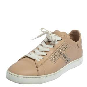 Tod's Beige Leather Studded Lace Up Sneakers Size 38