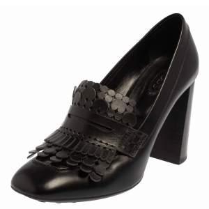 حذاء كعب عالي لوفرز تودز مزين شراشيب كعب سميك سير بيني جلد أسود مقاس 37.5