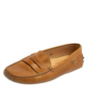 Tod's For Ferrari Tan Leather Slip On Loafers Size 38