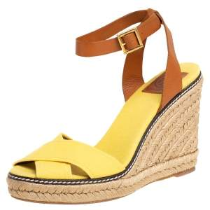 Tory Burch Yellow/Brown Canvas And Leather Fabian Wedge Platform Espadrilles Size 40