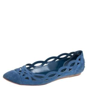 Tod's Blue Suede Laser Cut Out Ballet Flats Size 38