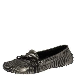 Tod's  Black/Grey Zebra Print Leather Gommini Driving Loafers Size 38