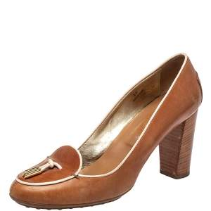 Tod's Brown Leather Block Heel Loafer Pumps Size 40