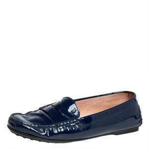 Tod's Blue Patent Leather Penny Loafers Size 39