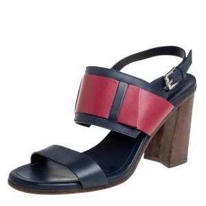 Tod's Blue/Burgundy Leather Sandals Size 40