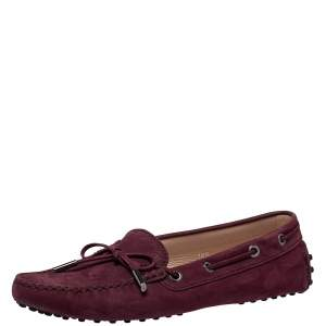 Tod's Burgundy Nubuck Leather  Gommino Loafers Size 38.5
