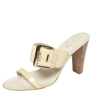 Tod's Beige Patent Leather Peggy Buckle Slide Sandals Size 39