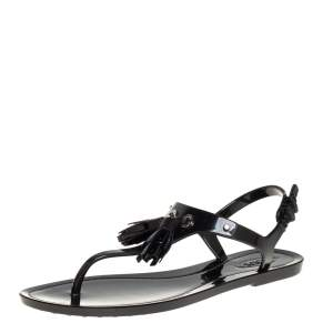 Tod's Black Jelly Tassel Detail Thong Flats Size 37