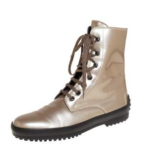 Tod's Metallic Beige Patent Leather Lace Up Boots Size 39