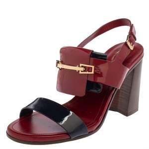Tod's Maroon/Dark Blue Patent Leather Embellished Slingback Sandals Size 40