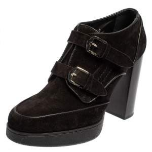 Tod's Black Suede Buckle Booties Size 40