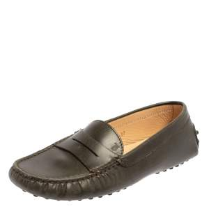 Tod's Olive Green Leather Penny Slip On Loafers Size 37
