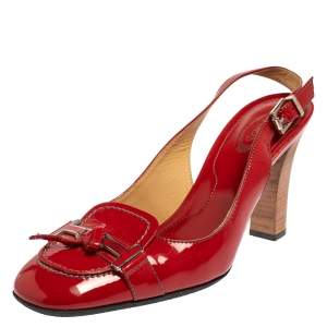 Tod's Red Patent Leather Penny Loafer Slingback Sandals Size 38.5