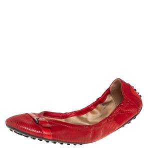 Tod's Red Textured Patent Leather Scrunch Ballet Flats Size 39.5