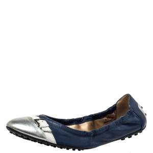 Tod's Blue/Silver Leather And Patent Leather Scrunch Ballet Flats Size 41.5