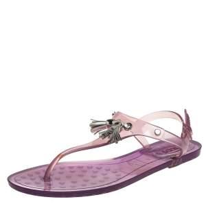 Tod's Purple Rubber Tassel Detail Thong Flats Size 39