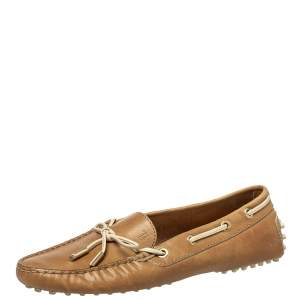 Tod's Brown Leather Bow Slip On  Loafers Size 38.5