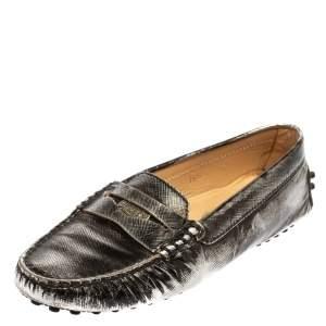 حذاء لوفرز تودز بيني جلد فضي/أسود مقاس 35.5