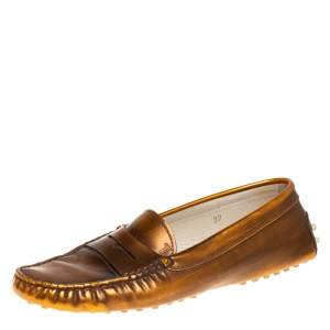 Tod's Metallic Brown Leather Slip on Loafers Size 37